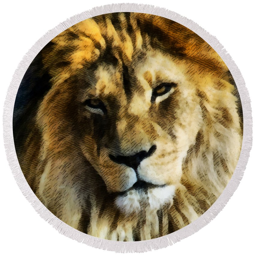 Lion Round Beach Towel featuring the mixed media Its Good To Be King Portrait Illustration by Angelina Vick