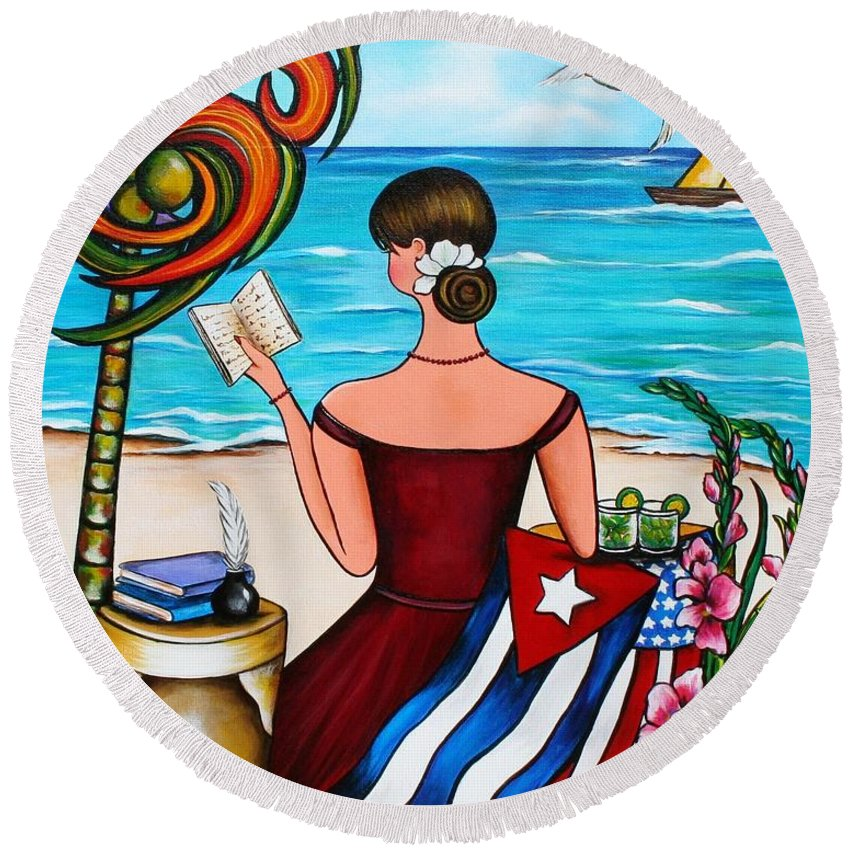 Cuba Round Beach Towel featuring the painting It's My Turn by Annie Maxwell