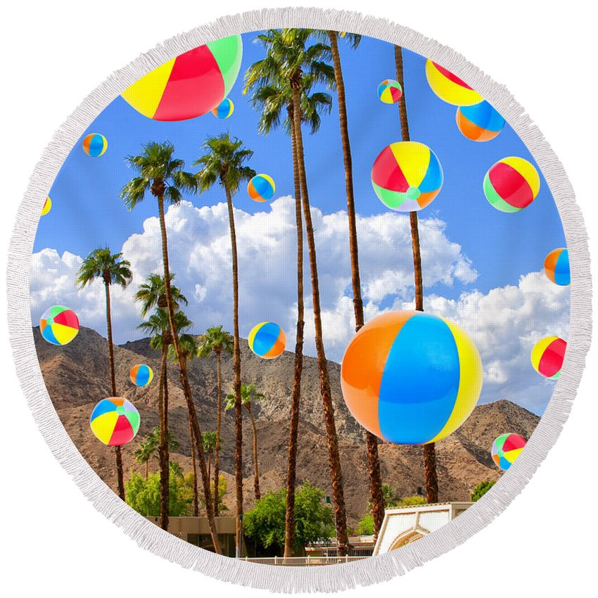 Featured Round Beach Towel featuring the photograph Its Raining Beach Balls Palm Springs by William Dey