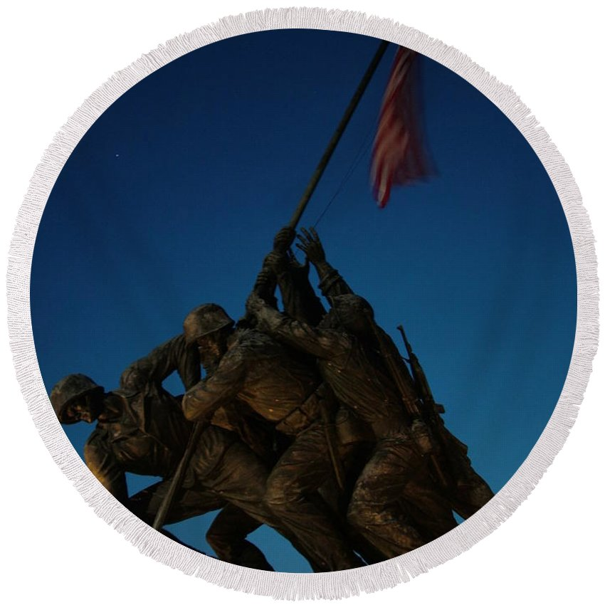 United States Marine Corps Round Beach Towel featuring the photograph Iwo Jima Memorial by Geoffrey McLean