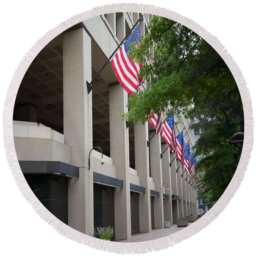 Fbi Headquarters Washington Dc Round Beach Towel featuring the digital art J Edgar Hioover Fbi Building by Carol Ailles