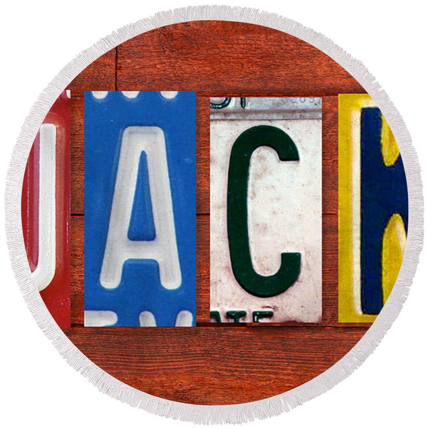 License Round Beach Towel featuring the mixed media Jack License Plate Name Sign Fun Kid Room Decor by Design Turnpike