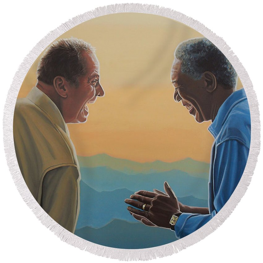 Jack Nicholson Round Beach Towel featuring the painting Jack Nicholson And Morgan Freeman by Paul Meijering