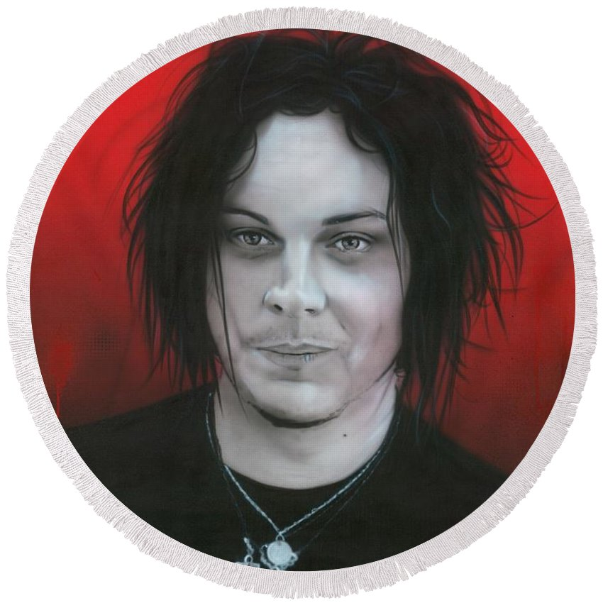 Jack White Round Beach Towel featuring the painting Jack White by Christian Chapman Art