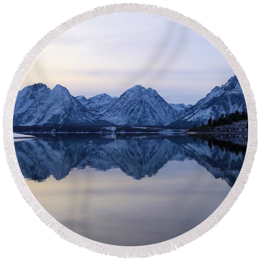 Grand Teton Round Beach Towel featuring the photograph Jackson Lake Reflections by Adam Jewell