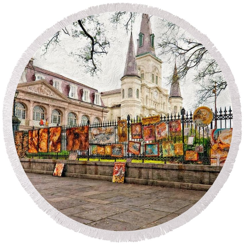 French Quarter Round Beach Towel featuring the photograph Jackson Square Winter Impasto by Steve Harrington