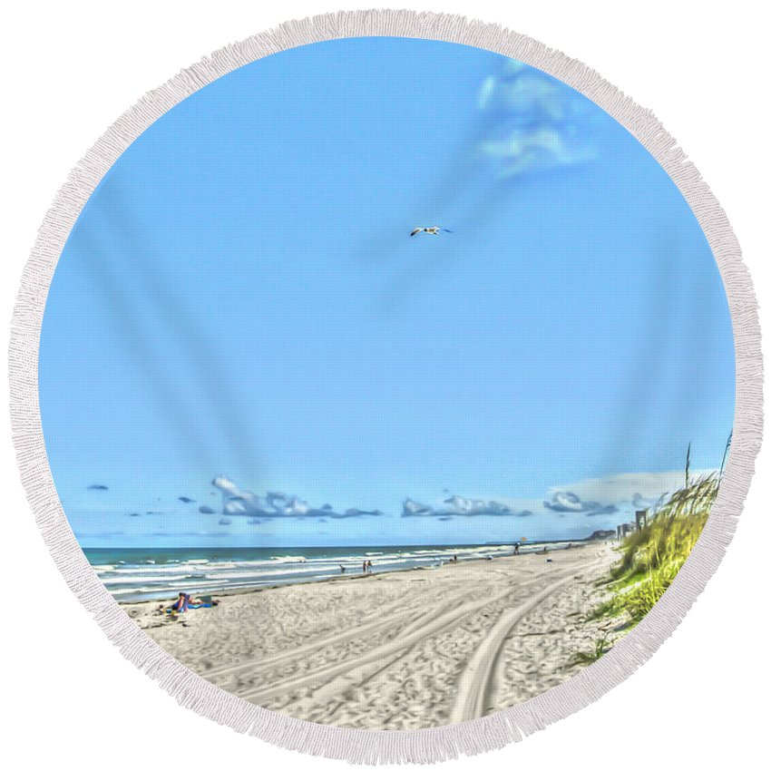 Jacksonville Round Beach Towel featuring the photograph Jacksonville Fl Beach by Dale Powell