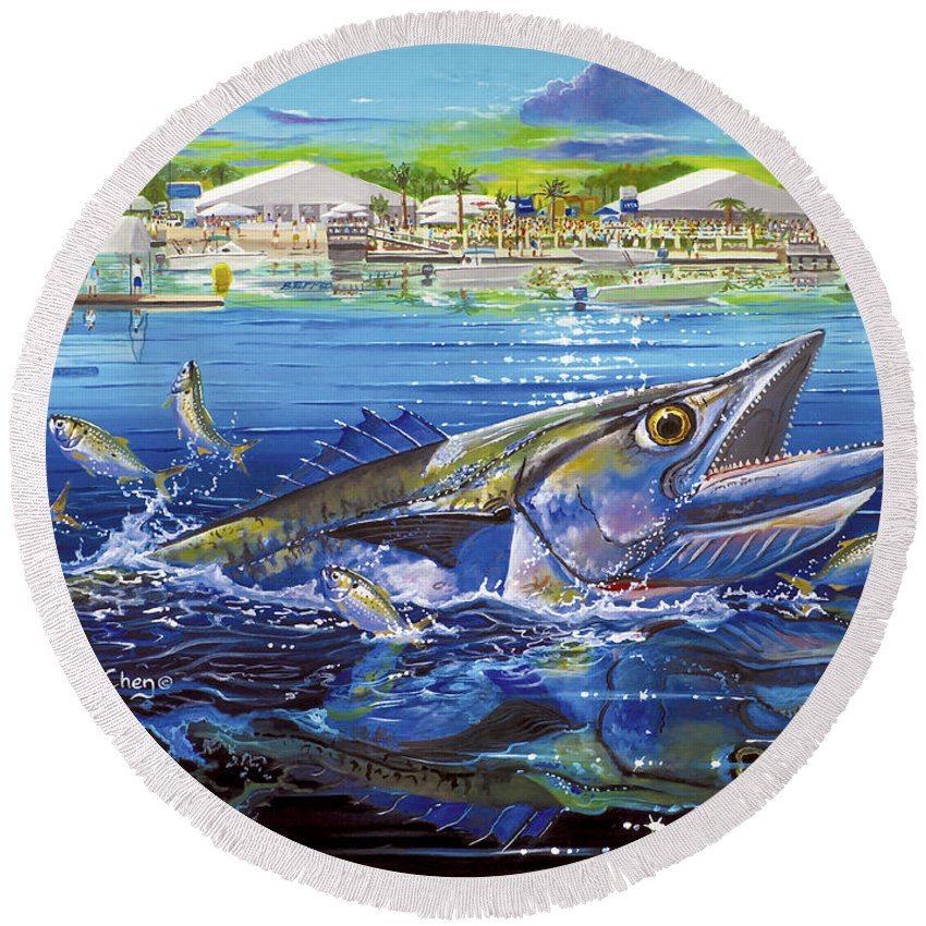 Kingfish Round Beach Towel featuring the painting Jacksonville Kingfish Off0088 by Carey Chen