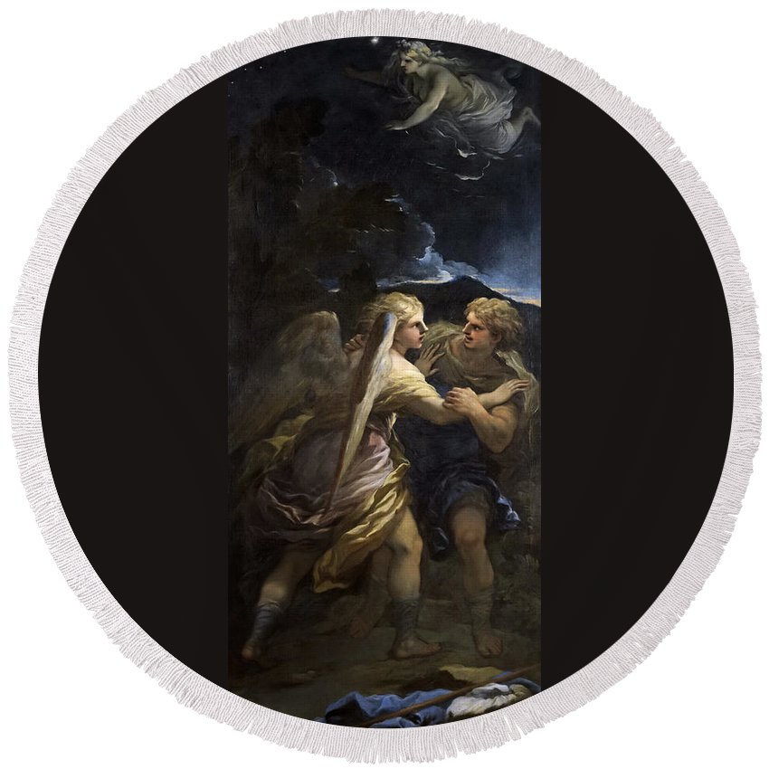 Luca Giordano Round Beach Towel featuring the painting Jacob Wrestling With The Angel by Luca Giordano