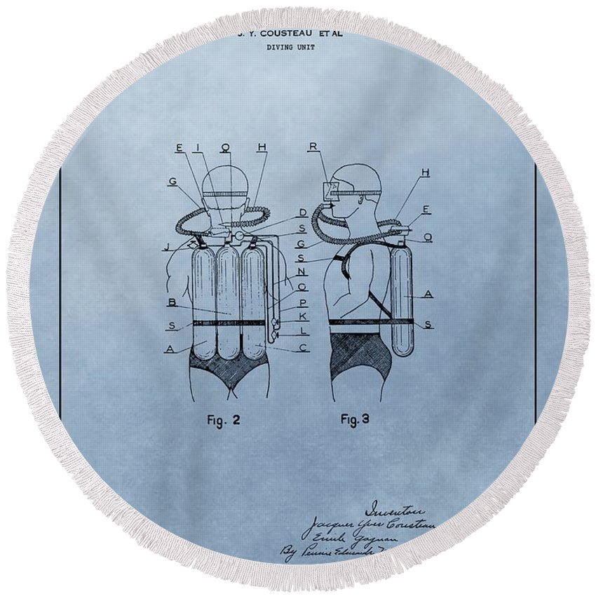 Jacques Cousteau Diving Suit Patent Round Beach Towel featuring the drawing Jacques Cousteau Diving Suit Patent by Dan Sproul