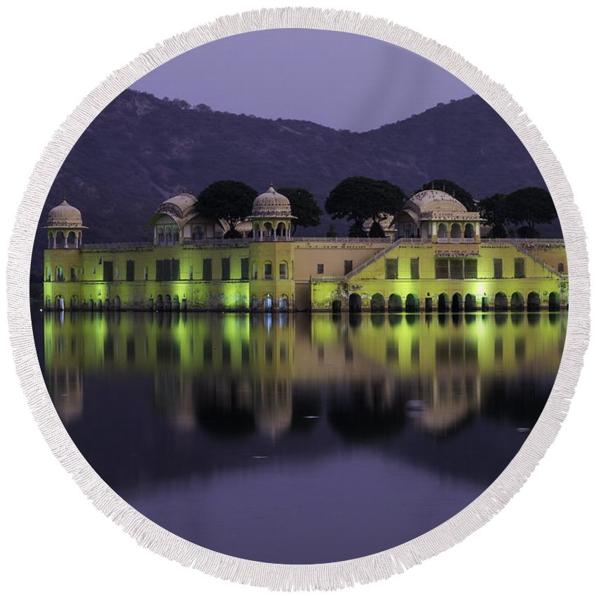 India Round Beach Towel featuring the photograph Jai Mahal Water Palace by Fran Gallogly