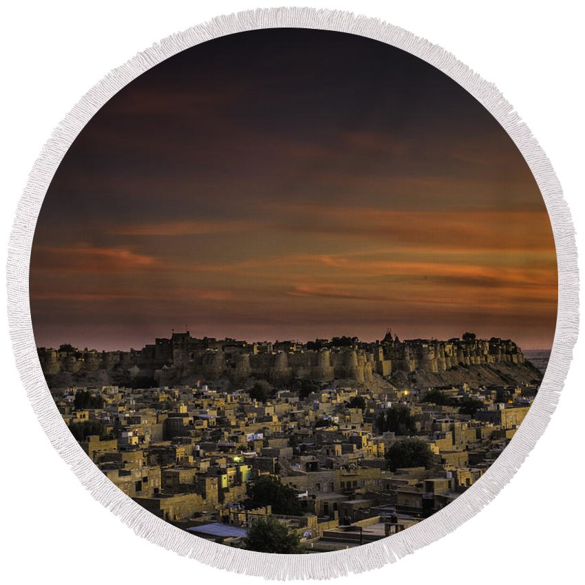 India Round Beach Towel featuring the photograph Jaisalmer Fort At Twilight by Fran Gallogly