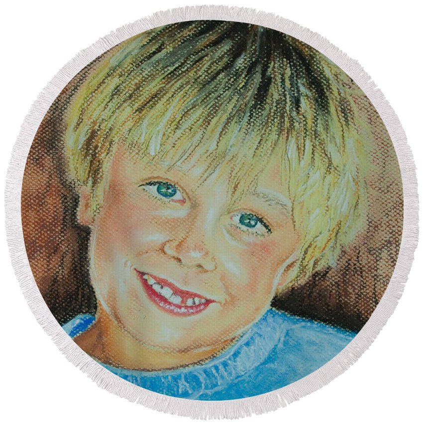 Boy Round Beach Towel featuring the pastel Jake by Katharina Filus