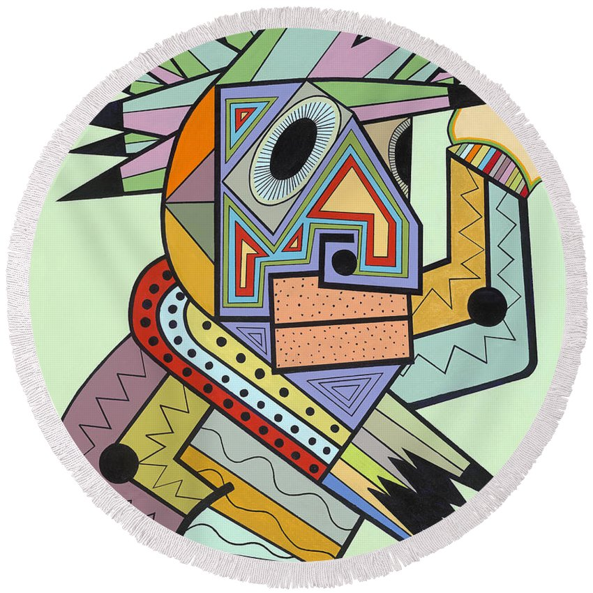 Cubism Round Beach Towel featuring the painting Jam In Brooklyn by Ruchell Alexander