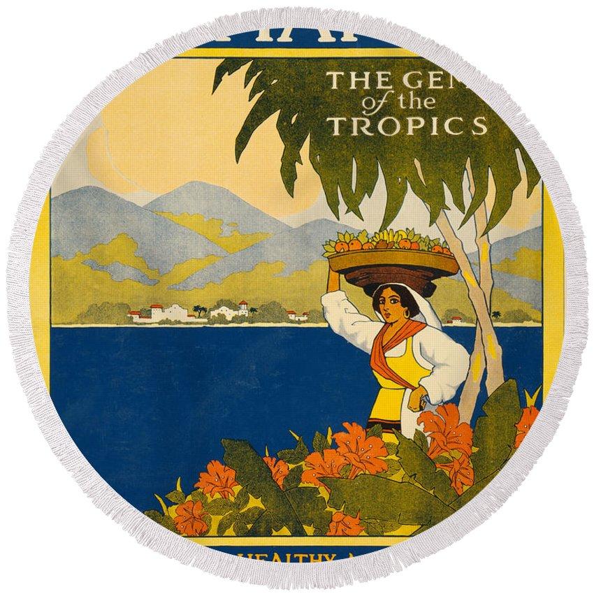 Jamaica Round Beach Towel featuring the digital art Jamaica The Gem Of The Tropics by Georgia Fowler
