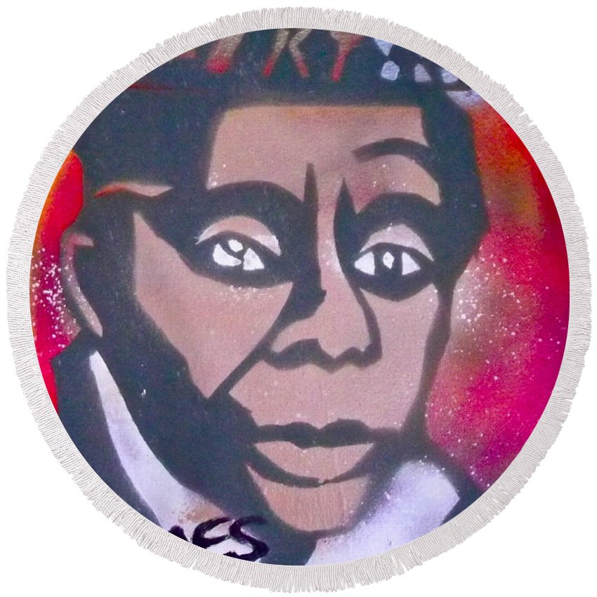Langston Hughes Round Beach Towel featuring the painting James Baldwin by Tony B Conscious