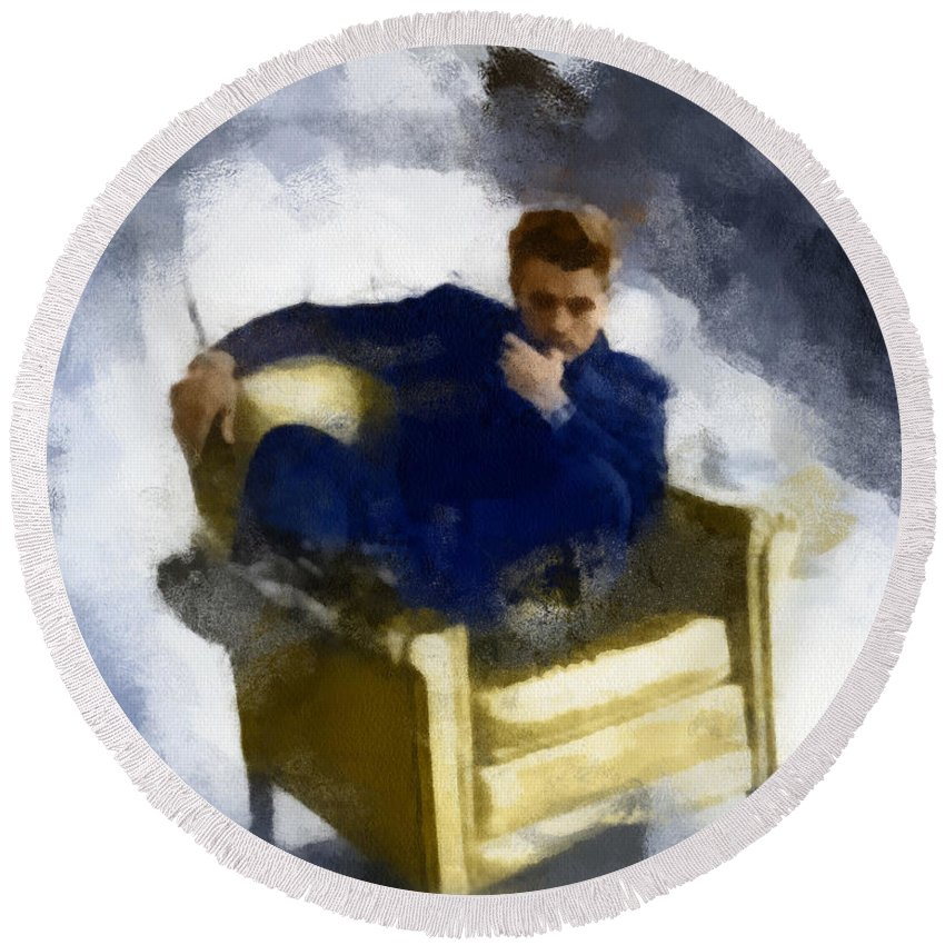 Art Round Beach Towel featuring the digital art James Dean In Yellow Leather Chair by Paulette B Wright
