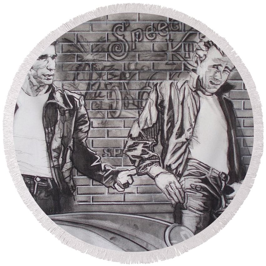 Americana Round Beach Towel featuring the drawing James Dean Meets The Fonz by Sean Connolly