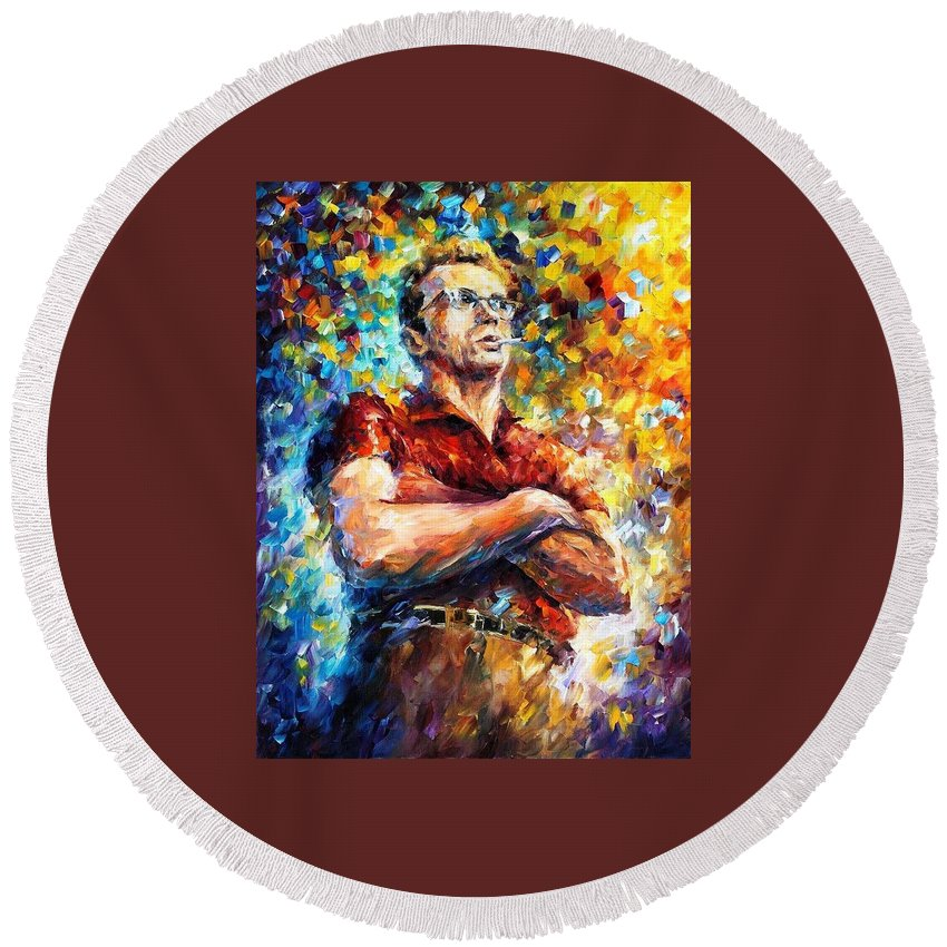 Art Gallery Round Beach Towel featuring the painting James Dean - Palette Knife Oil Painting On Canvas By Leonid Afremov by Leonid Afremov
