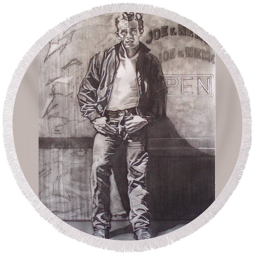 Charcoal; Icon;americana;cool;window;sidewalk;street;rock And Roll;jeans;t-shirt;diner;movie Star Round Beach Towel featuring the drawing James Dean by Sean Connolly