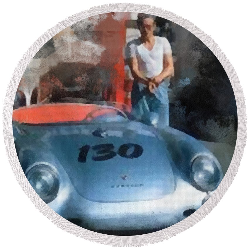 Wright Round Beach Towel featuring the digital art James Dean With His Spyder by Paulette B Wright