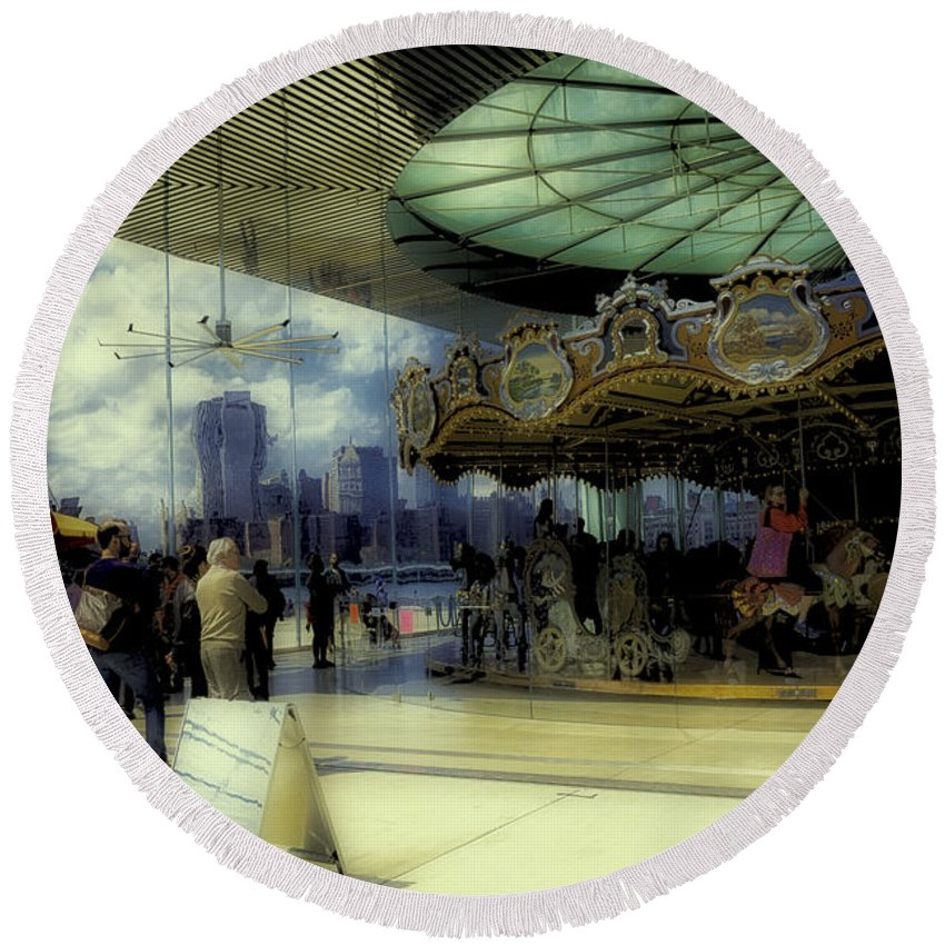 Carousel Round Beach Towel featuring the photograph Jane's Carousel 3 In Dumbo by Madeline Ellis