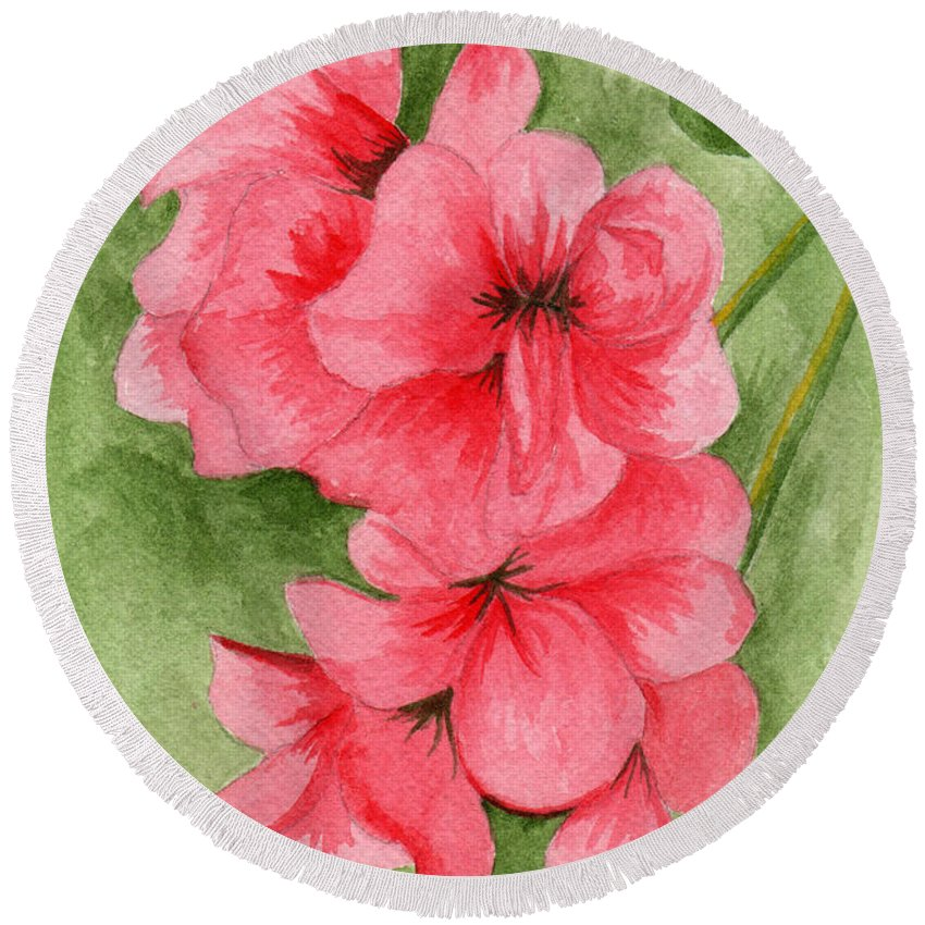 Flower Round Beach Towel featuring the painting Jane's Flowers by Judith Rice