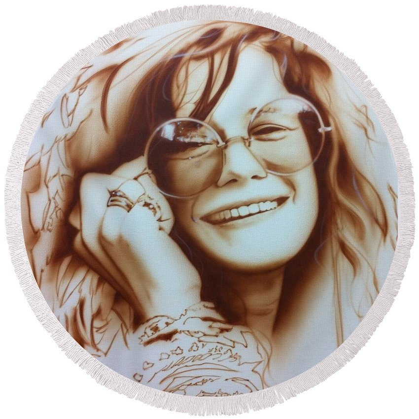 Janis Round Beach Towel featuring the painting Janis by Christian Chapman Art