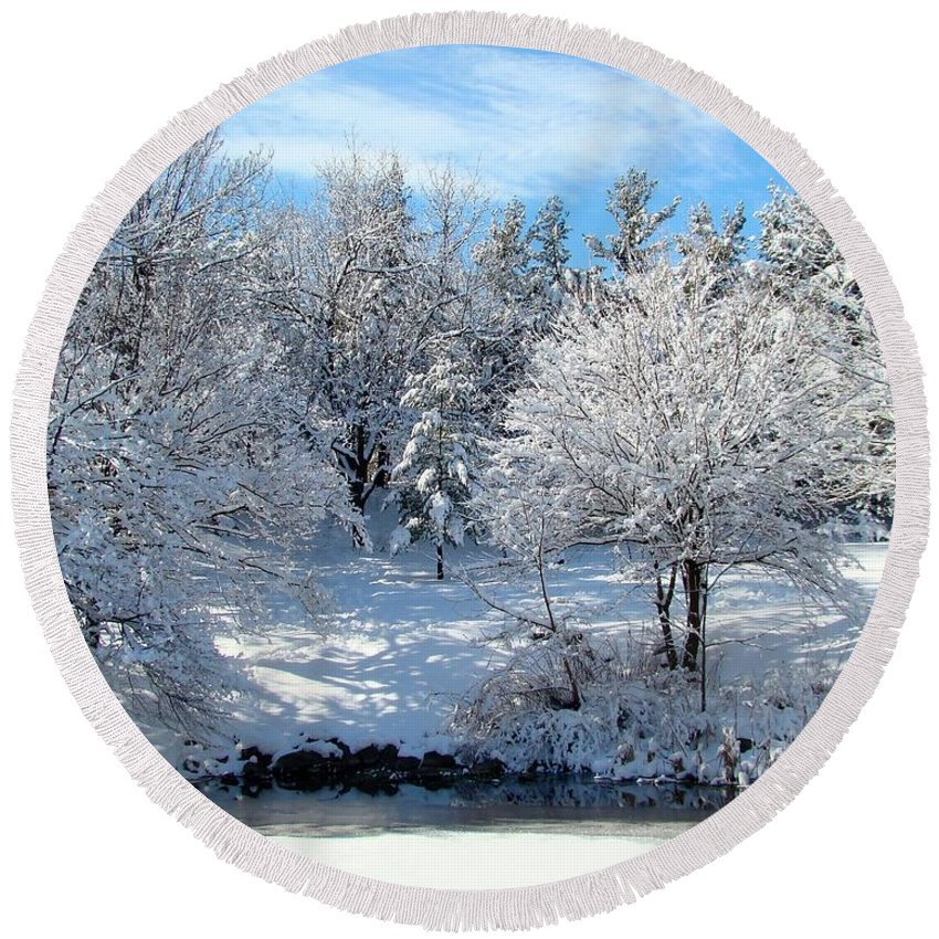 Snow Covered Trees Round Beach Towel featuring the photograph January Trees by Gothicrow Images