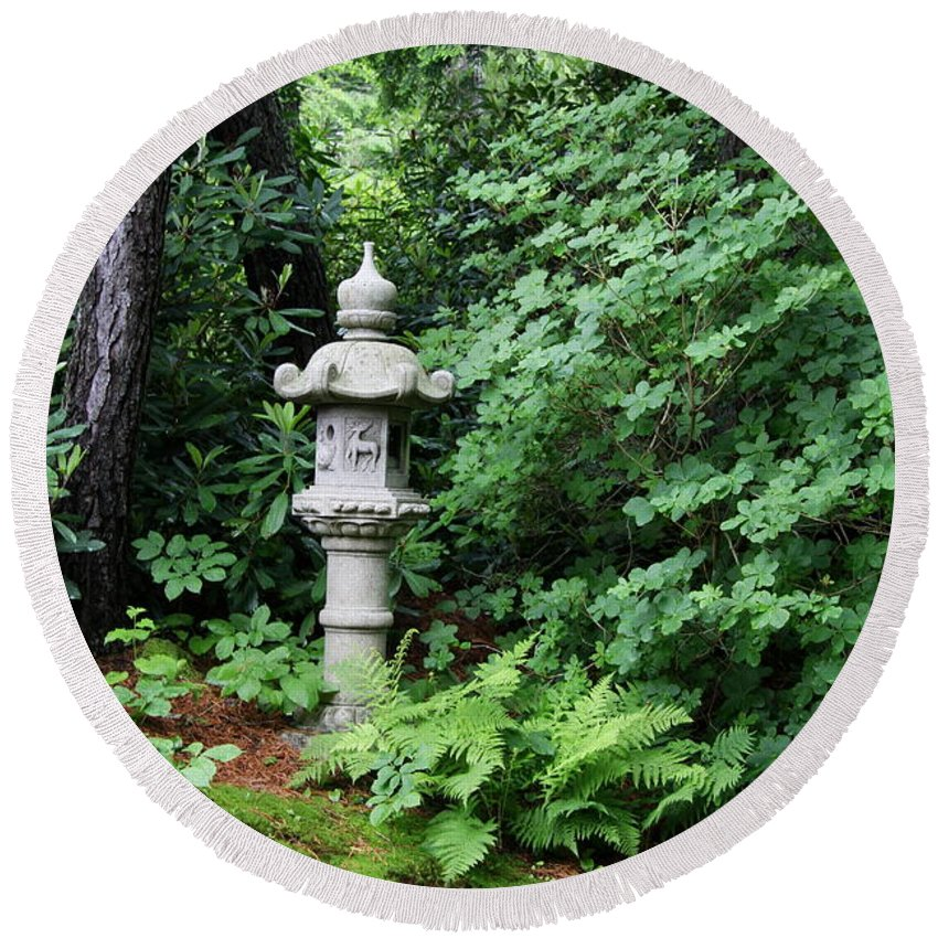 Japanese Garden Round Beach Towel featuring the photograph Japanese Garden Lantern by Christiane Schulze Art And Photography