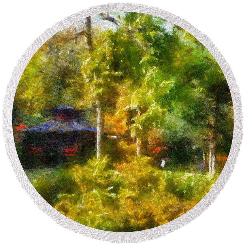 Autumn Round Beach Towel featuring the photograph Japanese Garden Laura Bradley Park 02 by Thomas Woolworth