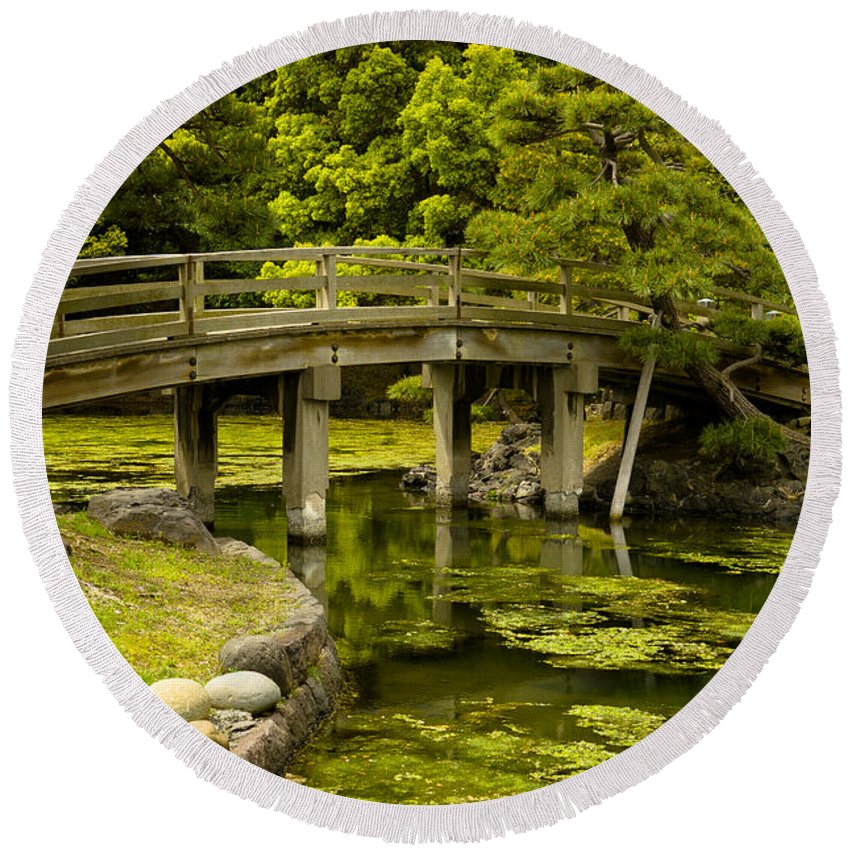 Japan Round Beach Towel featuring the photograph Japanese Garden Tokyo by Sebastian Musial