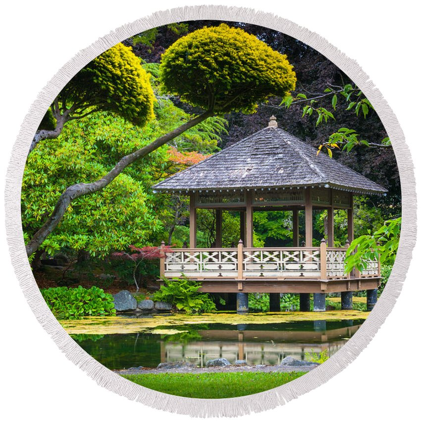 America Round Beach Towel featuring the photograph Japanese Gazebo by Inge Johnsson