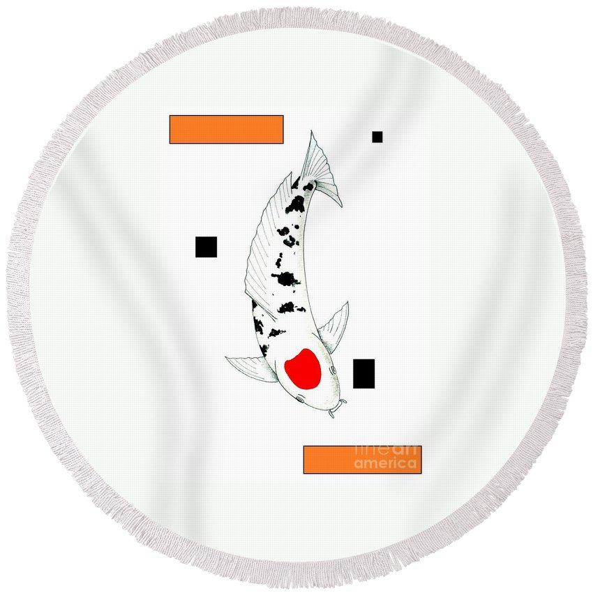 Tancho Kohaku Ogon Gin Rin Asian Pond Unusual Post Modern Round Beach Towel featuring the painting Japanese Koi Tancho Painting by Gordon Lavender