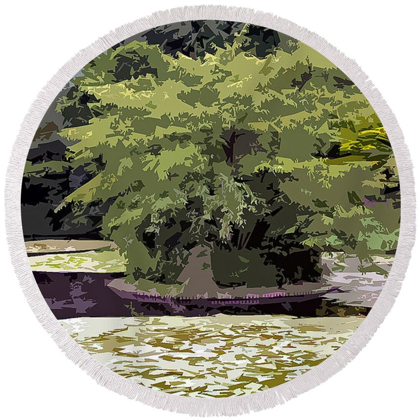 Japanese Round Beach Towel featuring the photograph Japanese Maple by Stefan H Unger