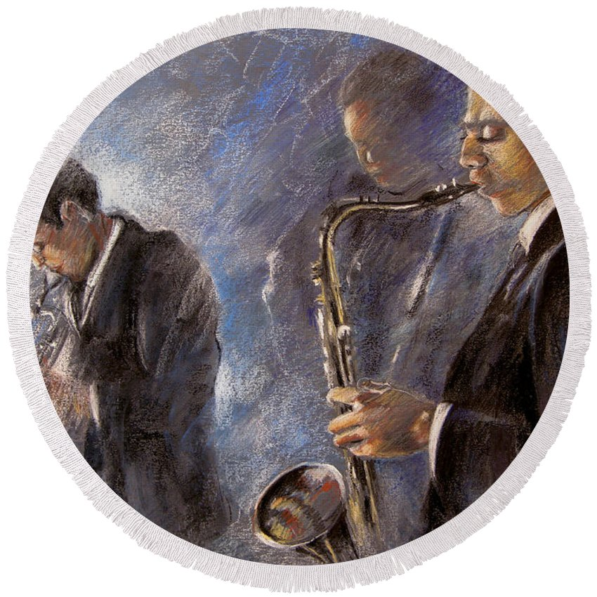 Jazz Round Beach Towel featuring the painting Jazz 01 by Miki De Goodaboom