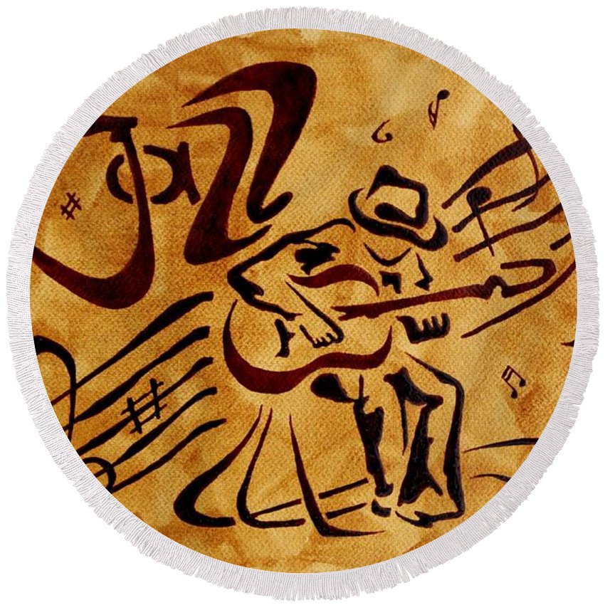 Guitar Singer Coffee Painting Abstract Round Beach Towel featuring the painting Jazz Abstract Coffee Painting by Georgeta Blanaru