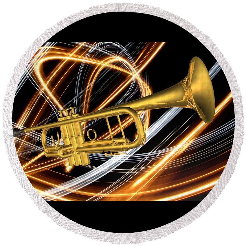 Art Round Beach Towel featuring the digital art Jazz Art Trumpet by Louis Ferreira