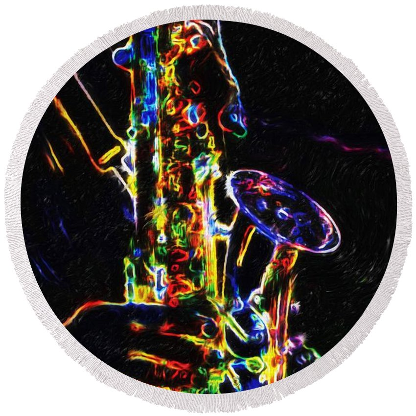 Saxophone Round Beach Towel featuring the painting Jazz Lights by Joseph A Newton