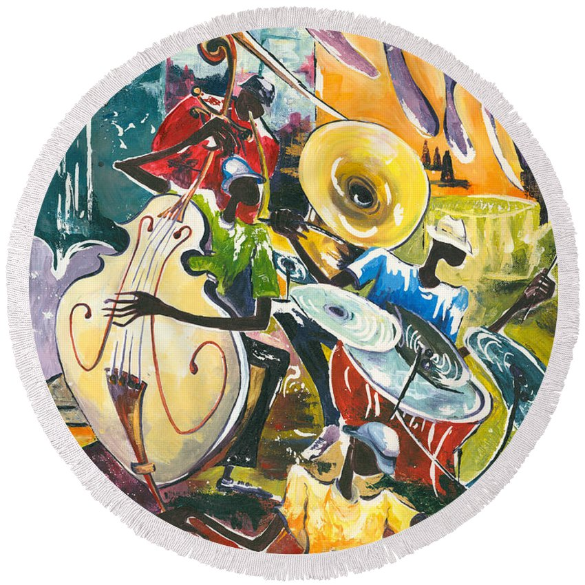 Acrylic Round Beach Towel featuring the painting Jazz No. 4 by Elisabeta Hermann