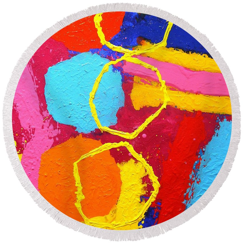 Modern Round Beach Towel featuring the painting Jazz Process IIi by John Nolan