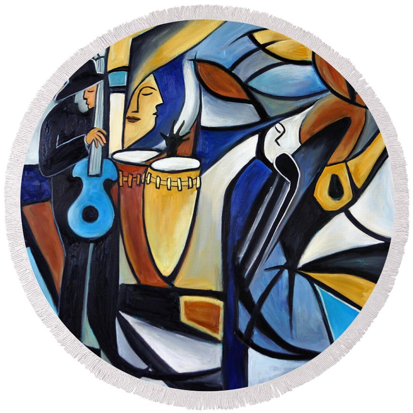 Jazz Round Beach Towel featuring the painting Jazzz 3 by Valerie Vescovi
