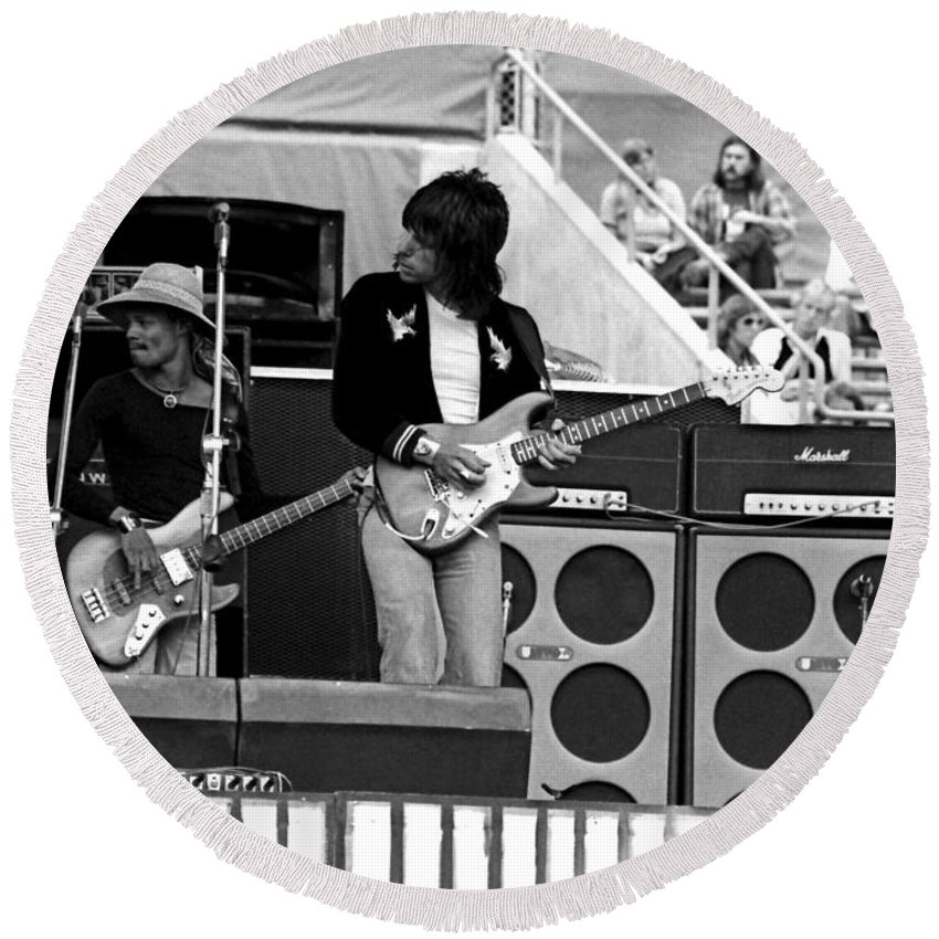 Jeff Beck Round Beach Towel featuring the photograph Jb #11 by Ben Upham