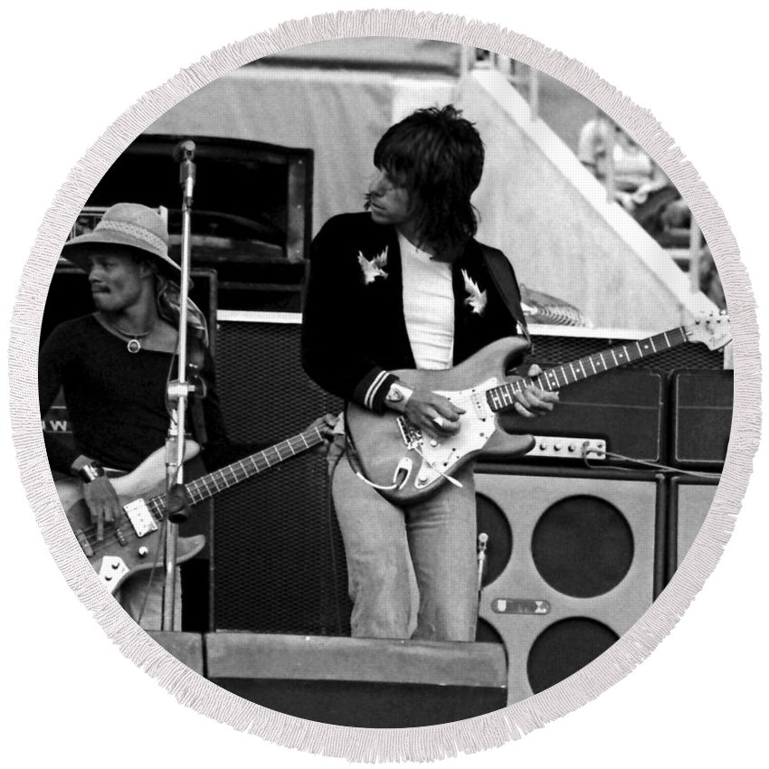 Jeff Beck Round Beach Towel featuring the photograph Jb #11 Crop 2 by Ben Upham