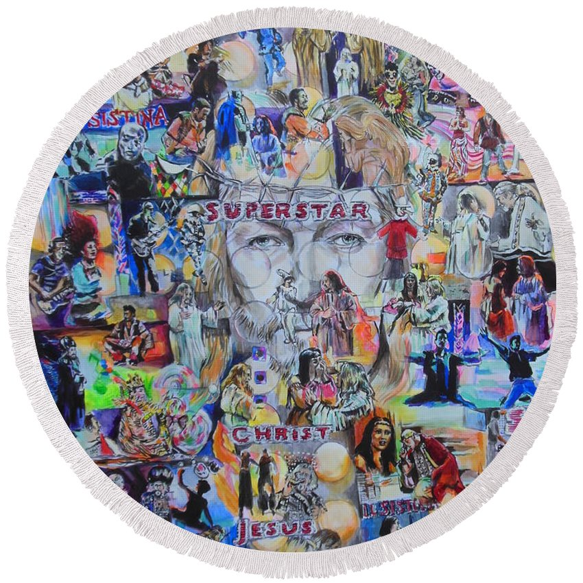 Jesus Christ Superstar Round Beach Towel featuring the painting Jcs Il Sistina by Lucia Hoogervorst