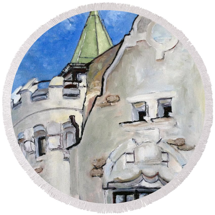 Landscape Round Beach Towel featuring the painting Je Vsude by Pablo de Choros