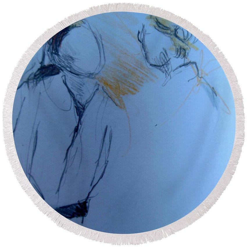 Karate Ladies Round Beach Towel featuring the drawing Jeannette En Barbara by Lucia Hoogervorst