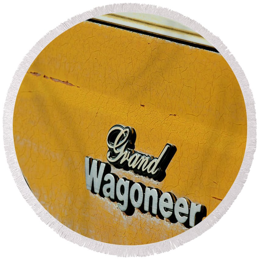 Jeep Grand Wagoneer Side Emblem Round Beach Towel featuring the photograph Jeep Grand Wagoneer Side Emblem by Jill Reger
