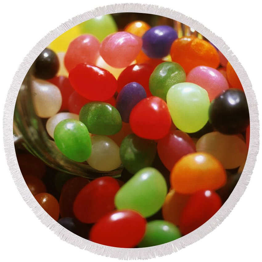 Abundance; Jelly Beans; Jar; Colorful; Heap; Shiny; Sweet Food; Sweets; Candies; Glass Round Beach Towel featuring the photograph Jelly Beans Spilling Out Of Glass Jar by Anonymous