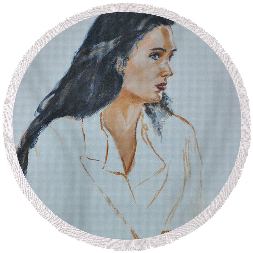 Jennifer Connelly Round Beach Towel featuring the painting Jennifer Connelly by Bryan Bustard
